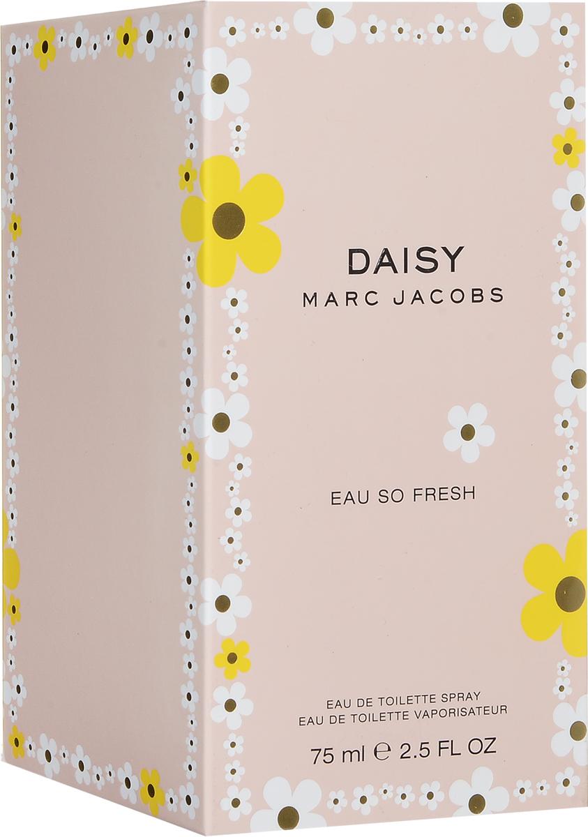 Marc Jacobs Daisy Eau So Fresh  Туалетная вода женская 75 мл58788202000Живой, чарующий, причудливый аромат DAISY EAU SO FRESH является смелой версией оригинального аромата DAISY. Он переносит Вас в счастливое и солнечное место, где все пропитано духом молодости, позитивной свежести и очаровательным чувством простоты. Игривый, с причудливым настроением - аромат свежей малины, чувственной дикой розы и теплой сливы. Утонченный, но не слишком серьезный, аромат DAISY EAU SO FRESH захватывает винтажной женственностью от Марка Джейкобса, а также смелым дизайном. Верхняя нота: красный грейпфрут, малина, зеленые листья, груша. Средняя нота: фиалка, дикая роза, цветки яблони, лепестки жасмина, личи. Шлейф: мускус, слива, кедр. Более спонтанная верчсия аромата Daisy, c аккордами розы и теплой сливы. Дневной и вечерний аромат.