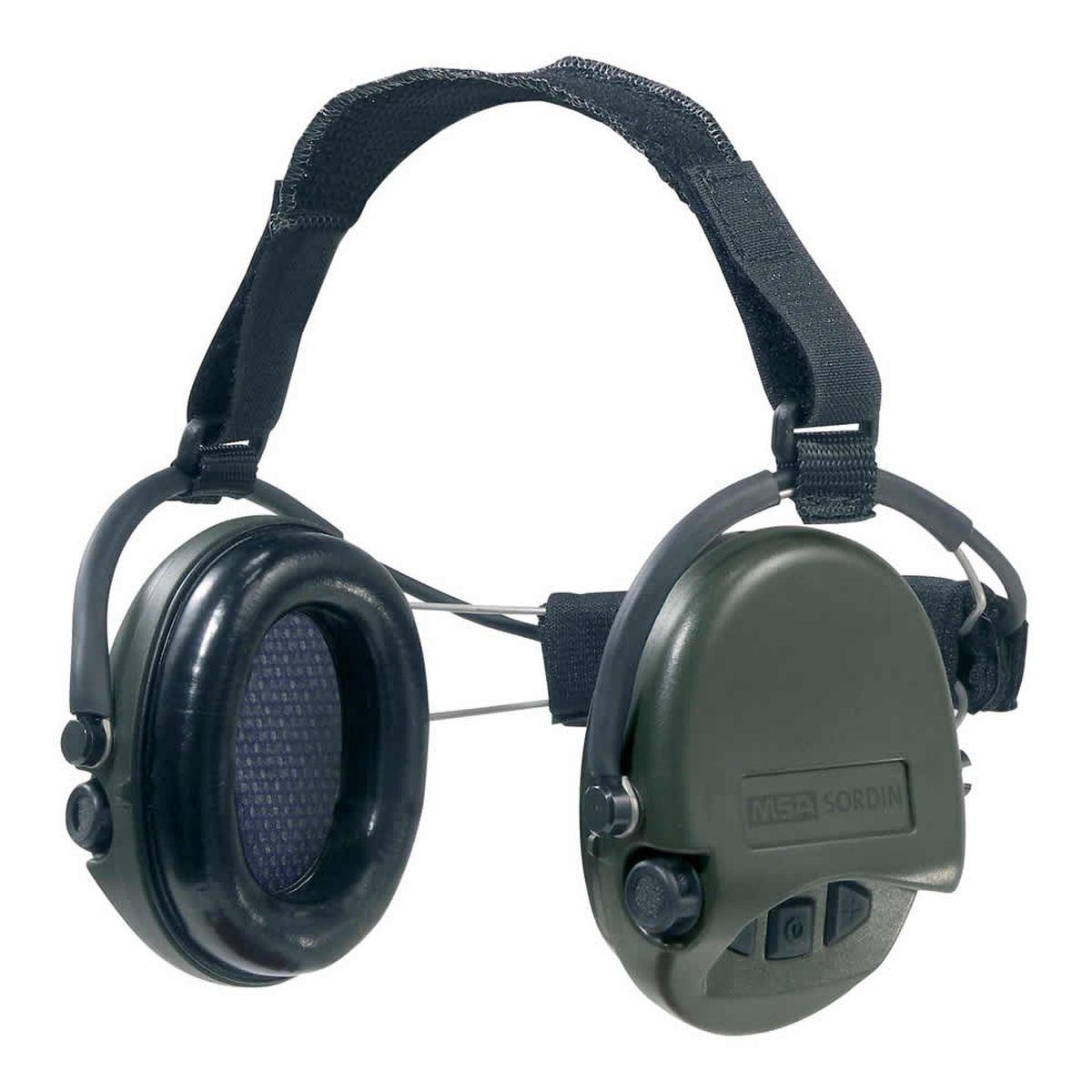 Наушники для стрельбы MSA Sordin Supreme Pro Neckband, активныеSOR76302Главное отличие этой модели возможность использовать с шлемом или другим головным убором. Активные наушники для стрельбы и охоты. Цвет ушных чашек – хаки. Усиливают слабый звук в 4 раза до 27 Дц и уменьшают шум до 82 Дц. Звуковая картинка на 360° градусов, звук Stereo. Два отдельных ветро-влагозащищенных микрофона. Влагозащищенный батарейный отсек. Звуковая пауза после отсечки шумовой волны менее 0,6 сек. Широкие кнопки включения с регулировкой громкости звука – 4 положения. Складные соединительные дужки, из прочной проволочной стали, покрытой антикоррозийным лаком. Дужки отделаны кожей. Предусмотрено прослушивание аудиозаписей через плеер/телефон, но основная функция – прослушивание сообщений через переносную радиостанцию. Возможно использование PTT(двух-полосная связь). Автоматическое отключение через 4 часа после начала использования. Предупреждение звуковым сигналом за 40 часов о низком заряде батареи. В комплекте две батарейки ААА, разъём AUX 3,5 мм., кабель. Вес: 310 гр....