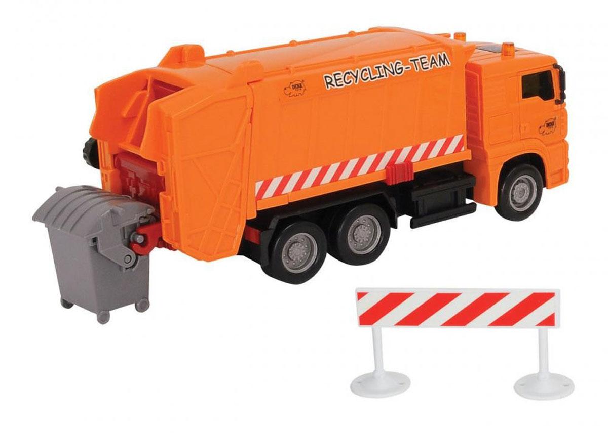 Dickie Toys Мусороуборочная машина MAN цвет оранжевый3343000_оранжевыйМусороуборочная машина Dickie Toys MAN привлечет внимание вашего ребенка и не позволит ему скучать. Игрушка выполнена из прочного пластика в виде хорошо детализированного мусоровоза. Кузов машины поднимается, задняя дверца кузова открывается. Мусоровоз оснащен подъемным механизмом для опрокидывания мусорного бака (входит в комплект). Ваш ребенок сможет часами играть с мусоровозом, придумывая различные истории. Порадуйте его таким замечательным подарком!