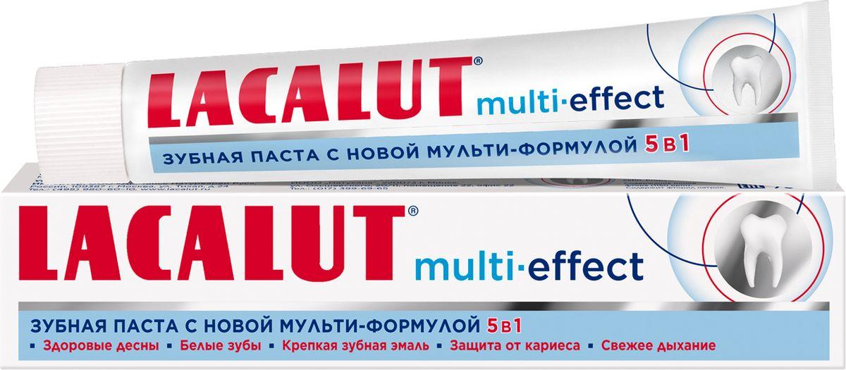 Lacalut Зубная паста Мульти эффект, 75мл1598092950Зубная паста Lacalut Multi-effect, 75мл. Lacalut Multi-effect - новая зубная паста с мульти-формулой 5 в 1 для всестороннего ухода за полостью рта. Благодаря уникальному составу она: - Восстанавливает зубную эмаль. - Защищает от кариеса. - Укрепляет дёсны. - Уменьшает окрашивание зубов. - Освежает дыхание. Благодаря новейшей мульти-формуле 5 в 1 Lacalut Multi-effect станет незаменимой пастой для всей семьи. При использовании новинки Вы получаете крепкую зубную эмаль, здоровые дёсны, свежее дыхание, белоснежную улыбку, защиту от кариеса. Одна паста - пять эффектов!
