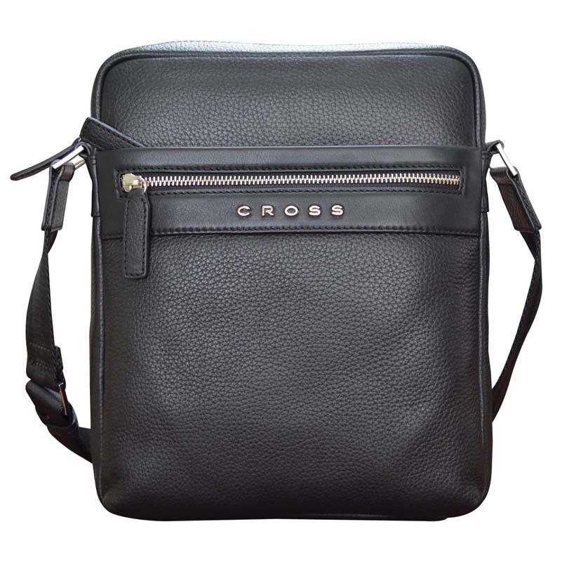 Сумка мужская Cross, цвет: черный. AC021113-1AC021113-1Сумка наплечная. Внешний карман на молнии. Задний карман на кнопке. Отделение для iPad. Два отделения для документов.