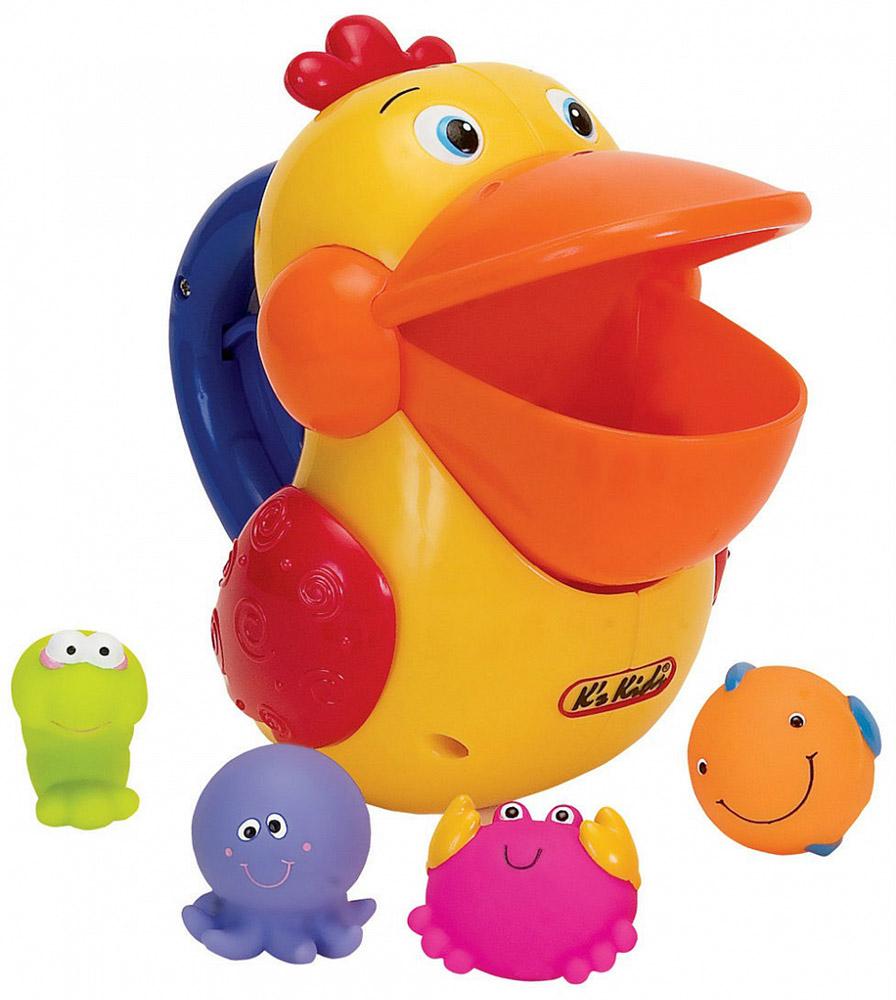 Ks Kids Игровой набор для ванны Голодный пеликанKA422Игровой набор для ванны Голодный пеликан состоит из пеликана и четырех маленьких фигурок морских обитателей (краб, рыбка, креветка, осьминог). На пеликане расположена ручка с кнопкой, нажимая на которую, он открывает или закрывает рот. Ваш малыш при помощи пеликана будет ловить морских обитателей, а они тем временем будут, проскальзывать через отверстие, внизу игрушки, обратно в воду. Набор Голодный пеликан развивает у ребенка координацию движений, моторику, логику и цветовое восприятие.