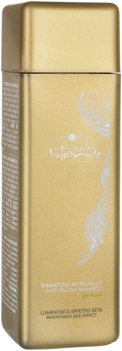Hair Company Шампунь анти-желтый Inimitable Blonde Anti-Yellow Shampoo 250 мл253752/LB11971 RUSДеликатный Анти-жёлтый шампунь с кислым PH разработан для устранения нежелательного желтого оттенка седых и обесцвеченных волос. Придает волосам здоровый вид, жизненный блеск и сияние, оптимизирует и стабилизирует оттенок.