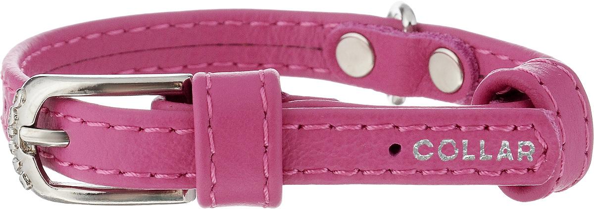 Ошейник для собак CoLLaR Glamour, цвет: розовый, ширина 9 мм, обхват шеи 19-25 см. 320132017Ошейник CoLLaR Glamour изготовлен из натуральной кожи, устойчивой к влажности и перепадам температур. Клеевой слой, сверхпрочные нити, крепкие металлические элементы делают ошейник надежным и долговечным. Изделие отличается высоким качеством, удобством и универсальностью. Размер ошейника регулируется при помощи металлической пряжки. Имеется металлическое кольцо для крепления поводка. Ваша собака тоже хочет выглядеть стильно! Такой модный ошейник станет для питомца отличным украшением и выделит его среди остальных животных. Минимальный обхват шеи: 19 см. Максимальный обхват шеи: 25 см. Ширина: 9 мм.