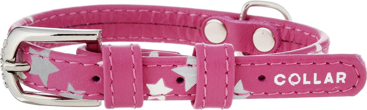 Ошейник для собак CoLLaR Glamour Звездочка, цвет: розовый, ширина 1,2 см, обхват шеи 21-29 см35847Ошейник для собак CoLLaR Glamour Звездочка изготовлен из натуральной кожи и декорирован оригинальным рисунком. Специальная технология печати по коже позволяет наносить на ошейник устойчивый рисунок, обладающий одновременно светоотражающим и светонакопительным эффектом. Ошейник устойчив к влажности и перепадам температур. Сверхпрочные нити, крепкие металлические элементы делают ошейник надежным и долговечным. Обхват ошейника регулируется при помощи пряжки. Ошейник оснащен металлическим кольцом для крепления поводка. Изделие отличается высоким качеством, удобством и универсальностью. Минимальный обхват шеи: 21 см. Максимальный обхват шеи: 29 см. Ширина ошейника: 1,2 см.
