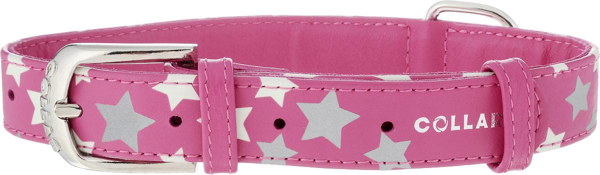Ошейник для собак CoLLaR Glamour Звездочка, цвет: розовый, ширина 2,5 см, обхват шеи 38-49 см35877Ошейник для собак CoLLaR Glamour Звездочка изготовлен из натуральной кожи и декорирован оригинальным рисунком. Специальная технология печати по коже позволяет наносить на ошейник устойчивый рисунок, обладающий одновременно светоотражающим и светонакопительным эффектом. Ошейник устойчив к влажности и перепадам температур. Сверхпрочные нити, крепкие металлические элементы делают ошейник надежным и долговечным. Обхват ошейника регулируется при помощи пряжки. Ошейник оснащен металлическим кольцом для крепления поводка. Изделие отличается высоким качеством, удобством и универсальностью. Минимальный обхват шеи: 38 см. Максимальный обхват шеи: 49 см. Ширина ошейника: 2,5 см.