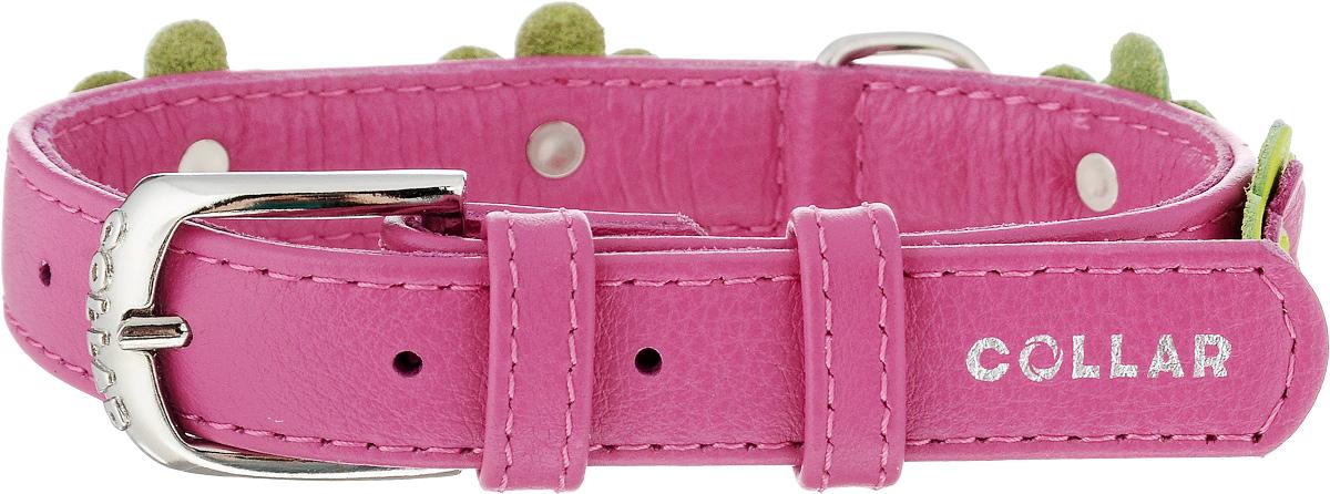 Ошейник для собак CoLLaR Glamour Аппликация, цвет: розовый, салатовый, ширина 2 см, обхват шеи 30-39 см35027Ошейник CoLLaR Glamour изготовлен из натуральной кожи, устойчивой к влажности и перепадам температур. Клеевой слой, сверхпрочные нити, крепкие металлические элементы делают ошейник надежным и долговечным. Изделие декорировано аппликациями в виде цветочков. Размер ошейника регулируется при помощи металлической пряжки. Имеется металлическое кольцо для крепления поводка. Ваша собака тоже хочет выглядеть стильно! Такой модный ошейник станет для питомца отличным украшением и выделит его среди остальных животных. Изделие отличается высоким качеством, удобством и универсальностью. Обхват шеи: 30-39 см. Ширина: 2 см.