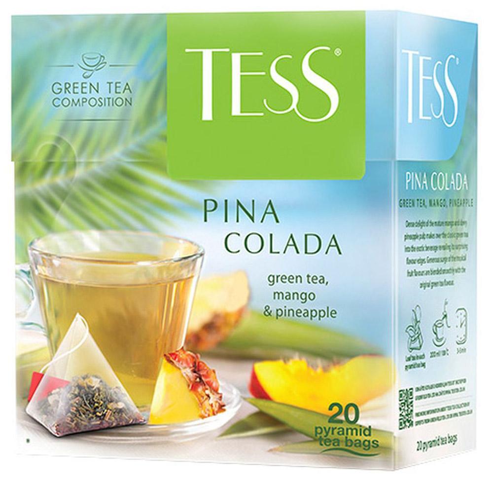 Tess Pina Colada ароматизированный чай в пакетиках, 20 шт0787-12Плотная сладость спелого манго и свежая сочность ананаса превращают классический зеленый чай в экзотический напиток, открывая в нем неожиданные грани вкуса. Щедрая волна ароматов тропических фруктов гармонично сочетается со вкусом зеленого чая.