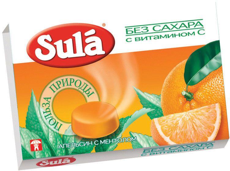 Sula апельсин с ментолом леденцы, 18 г8250573Апельсиновое масло в составе леденцов повышает сопротивляемость организма к инфекциям, а ментол облегчает дыхание.