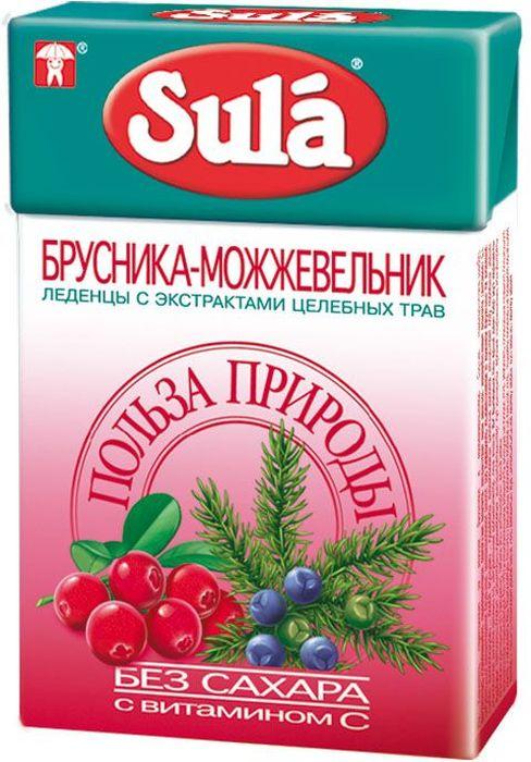 Sula Брусника-Можжевельник леденцы, 40 г8251959Брусника повышает иммунитет, укрепляет сосуды, богата пищевыми волокнами, витаминами С и А, калием, железом. Можжевельник обладает общеукрепляющим действием, улучшает обмен веществ.