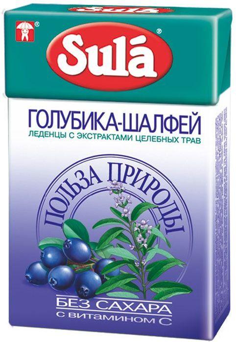 Sula Голубика-Шалфей леденцы, 40 г8251960Голубика - богатый источник витаминов, органических кислот и минеральных солей. Шалфей обладает противовоспалительными свойствами, насыщен витаминами В1, С и Р.