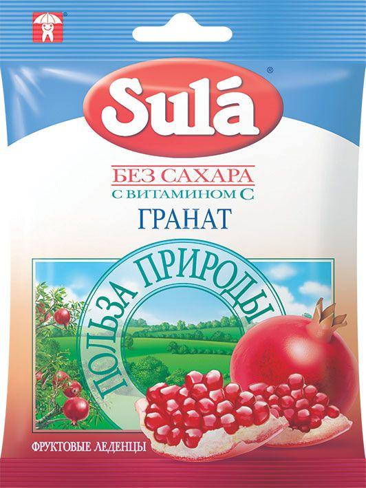 Sula Гранат фруктовые леденцы, 60 г8250833Гранат богат аскорбиновой кислотой, другими фруктовыми кислотами, фруктозой и танинами, тонизирует и укрепляет организм, помогает при диабете.