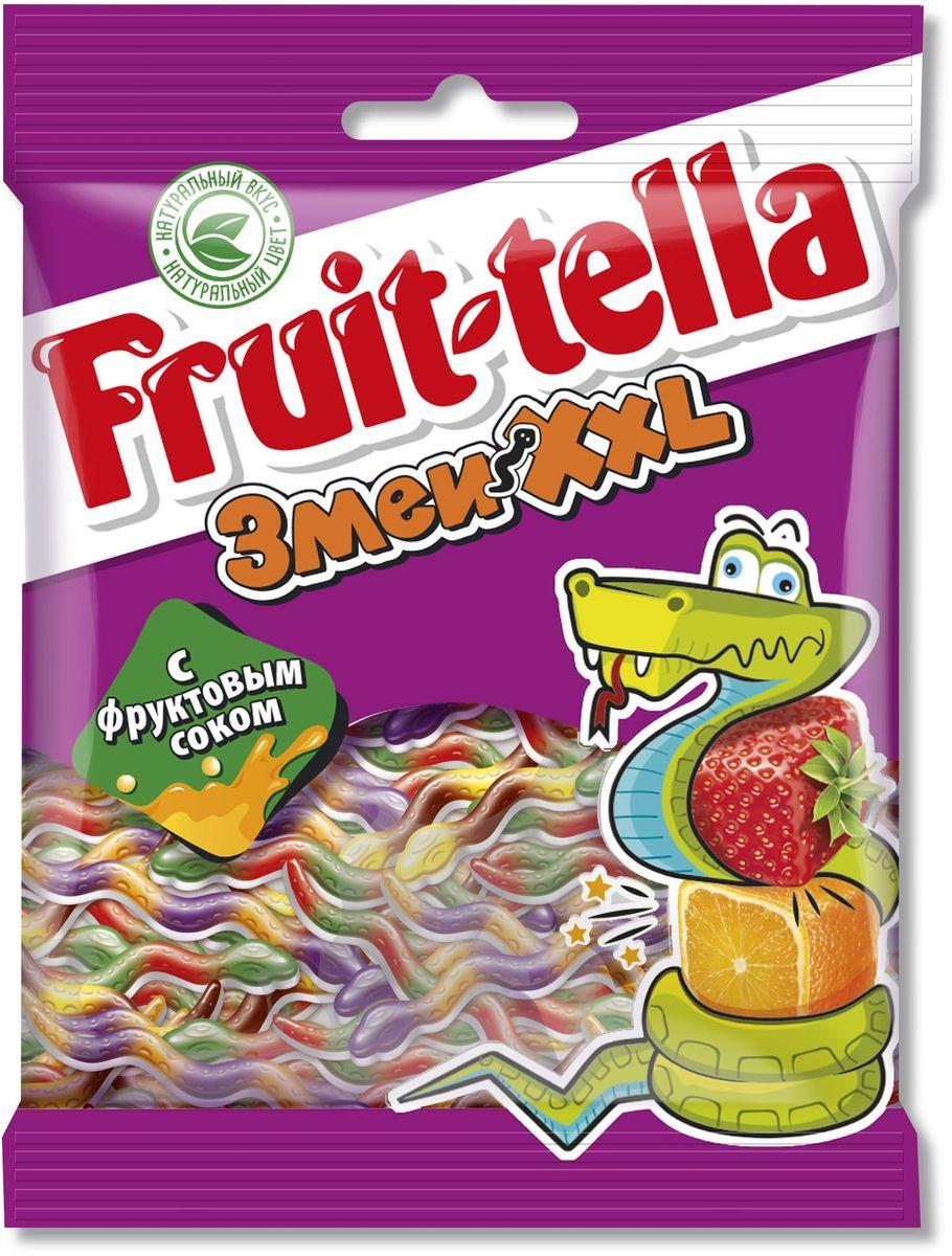 Fruittella Змеи XXL жевательный мармелад, 70 г8250136Сочные жевательные конфеты и мармелад Fruit-tella дарят детям и взрослым всю радугу цветов и вкусов: от апельсина и яблока до черной смородины и клубники! Они изготовлены по уникальной рецептуре с использованием только натуральных компонентов – фруктов, овощей и фруктовых соков!