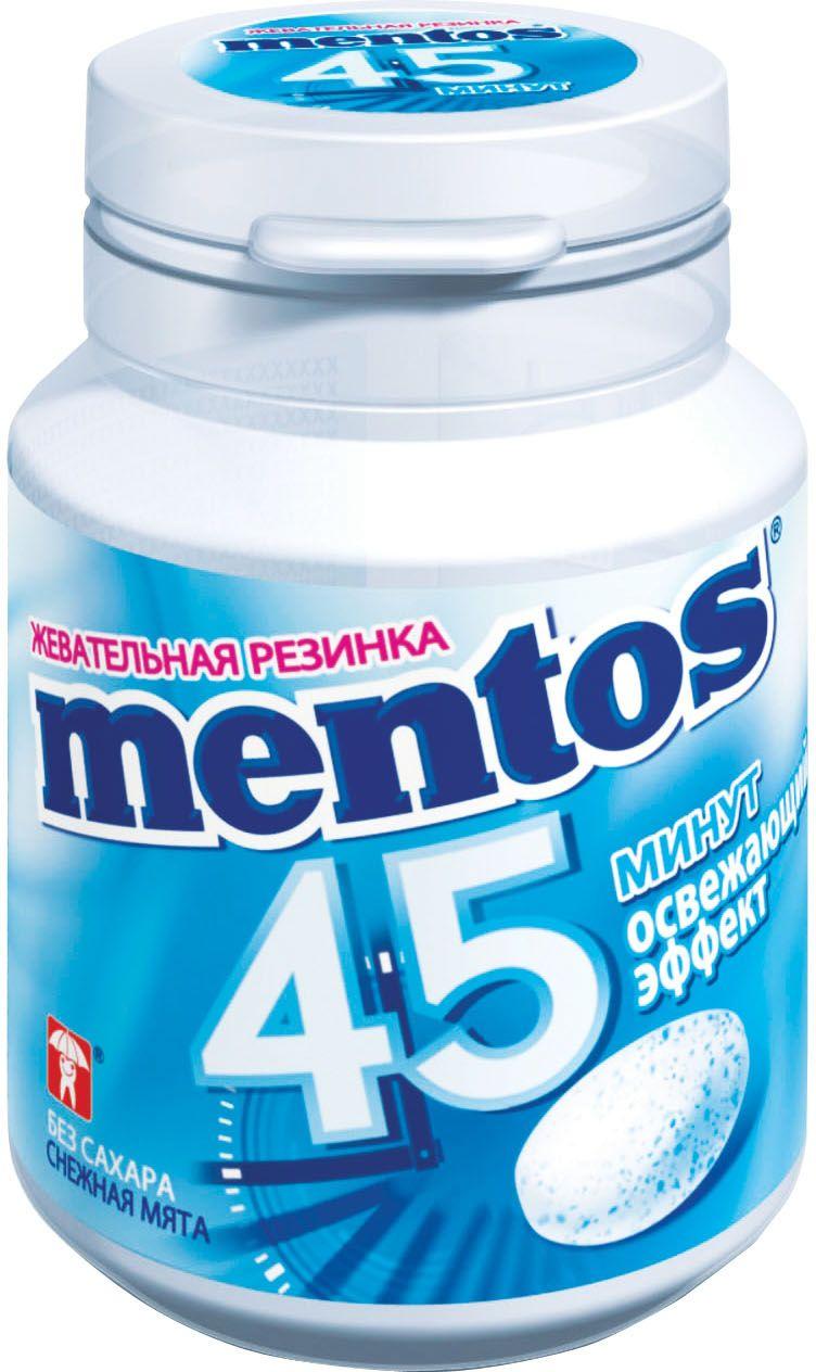 Mentos Снежная Мята жевательная резинка, 45 г