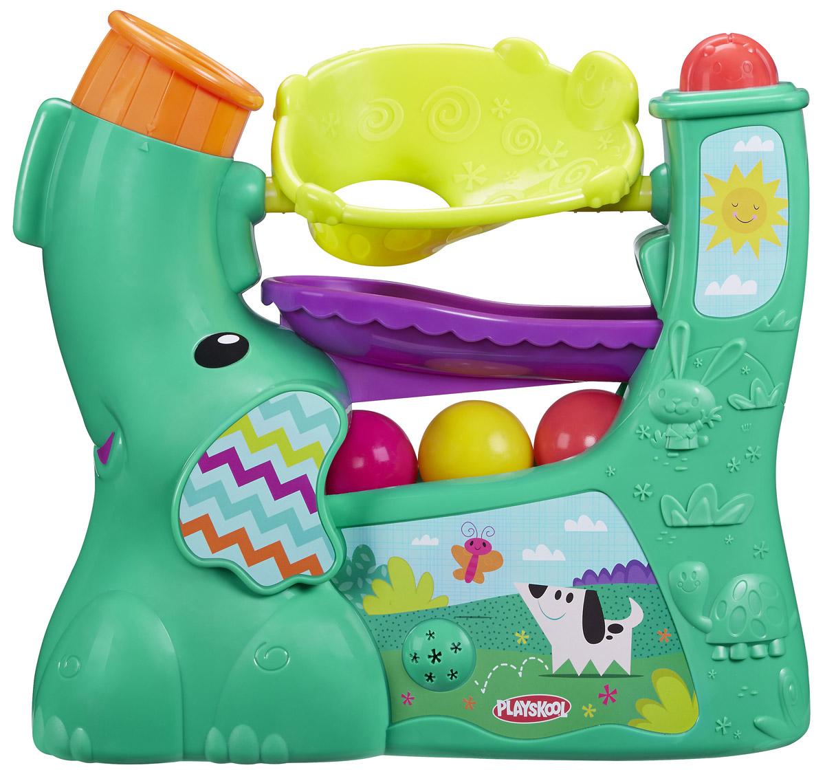 Playskool Развивающая игрушка Веселый слоникB5846EU4Развивающая игрушка Playskool Веселый слоник выполнена в виде симпатичного слоника с длинным хоботом. Слоник изготовлен из прочного безопасного пластика с фактурными рисунками. Ваш малыш будет с интересом наблюдать за тем, как яркие разноцветные шарики перекатываются по желобкам игрушки. Шарики вылетают из хобота под набором воздуха и задорно скатываются - это так весело! Вы можете менять направление хобота, тем самым меняя режим игры - шарики будут вылетать в том направлении, в котором вы установите хобот. Шарики можно складывать внутрь игрушки. Игрушка дополнена звуковыми эффектами, может проигрывать 6 разных мелодий. Развивающая игрушка Playskool Веселый слоник поможет ребенку развить интеллектуальные способности, а также цветовое и звуковое восприятие, мелкую моторику рук и координацию движений. Для работы требуются 4 батареек типа D (R20) (не входят в комплект).