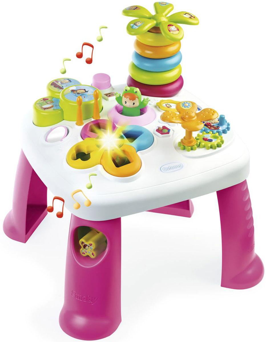 Smoby Развивающий центр Cotoons цвет розовый211170Развивающий стол Cotoons помогает малышу развиваться играючи. Особенности: электронный сортер; разноцветная пирамида в виде пальмы Wabap, которая может прыгать; барабаны с 2 палочками; крутящиеся шестеренки; зеркальце.