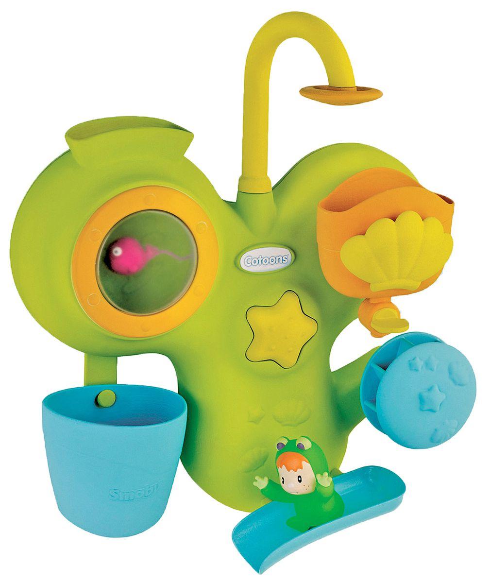 Smoby Игрушка для ванной Cotoons211421Игровой центр для ванны поможет сделать купание веселым и интересным. Центр крепится при помощи 2-х присосок. Наполните аквариум, и рыбка поднимется вверх, когда вода стечет, рыбка снова опустится. Наполните ракушку водой, и из нее появится Вабаб. Откройте кран под ракушкой и вода приведет в движение водяное колесо и поможет скатиться с горки маленькому лягушенку. В комплекте игровой центр, фигурка рыбки, фигурка человека.