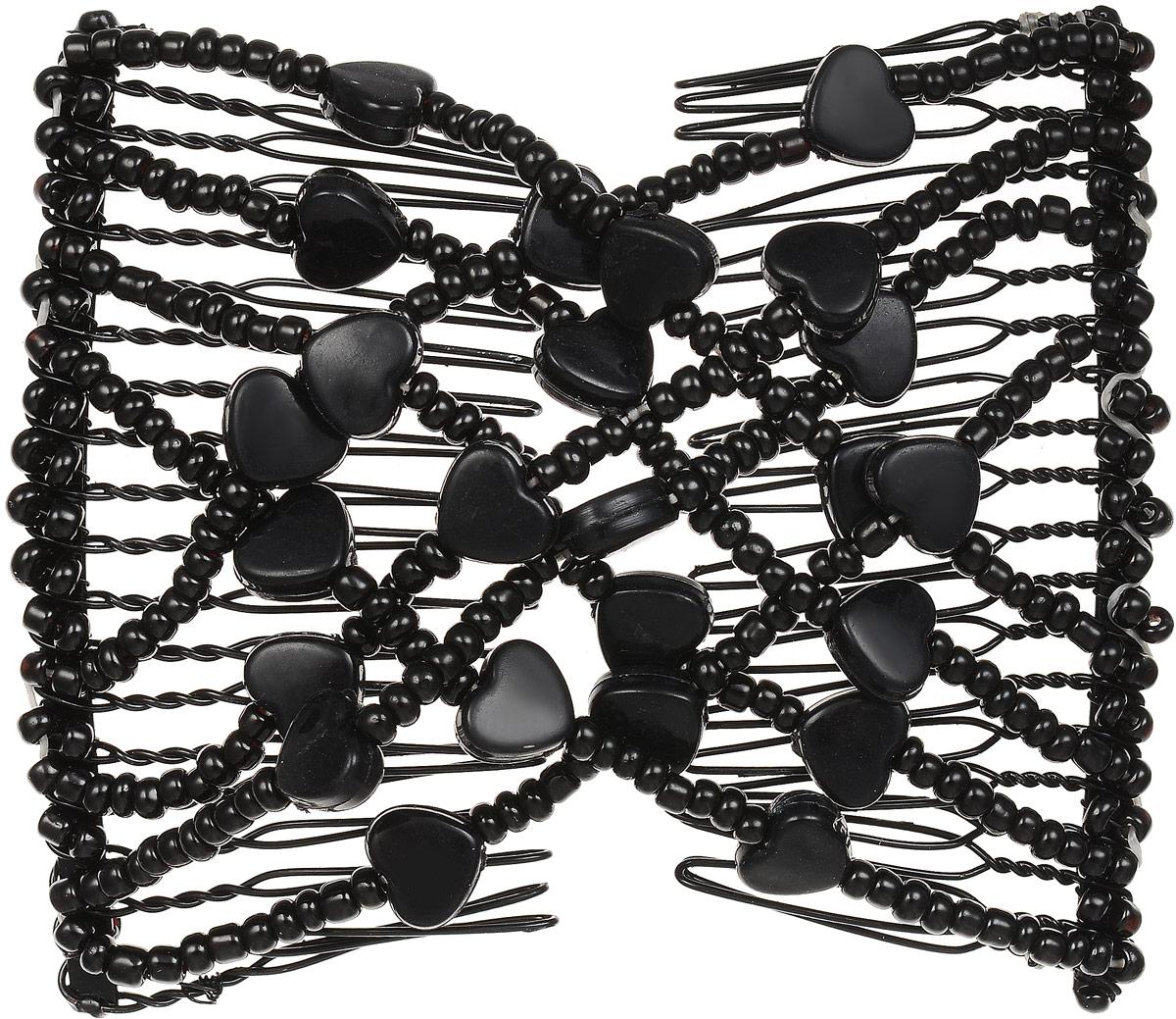 EZ-Combs Заколка Изи-Комбс, одинарная, цвет: черный. ЗИО_сердечкиЗИО_черный, сердечкиУдобная и практичная EZ-Combs подходит для любого типа волос: тонких, жестких, вьющихся или прямых, и не наносит им никакого вреда. Заколка не мешает движениям головы и не создает дискомфорта, когда вы отдыхаете или управляете автомобилем. Каждый гребень имеет по 20 зубьев для надежной фиксации заколки на волосах! И даже во время бега и интенсивных тренировок в спортзале EZ-Combs не падает; она прочно фиксирует прическу, сохраняя укладку в первозданном виде. Небольшая и легкая заколка для волос EZ-Combs поместится в любой дамской сумочке, позволяя быстро и без особых усилий создавать неповторимые прически там, где вам это удобно. Гребень прекрасно сочетается с любой одеждой: будь это классический или спортивный стиль, завершая гармоничный облик современной леди. И неважно, какой образ жизни вы ведете, если у вас есть EZ-Combs, вы всегда будете выглядеть потрясающе.