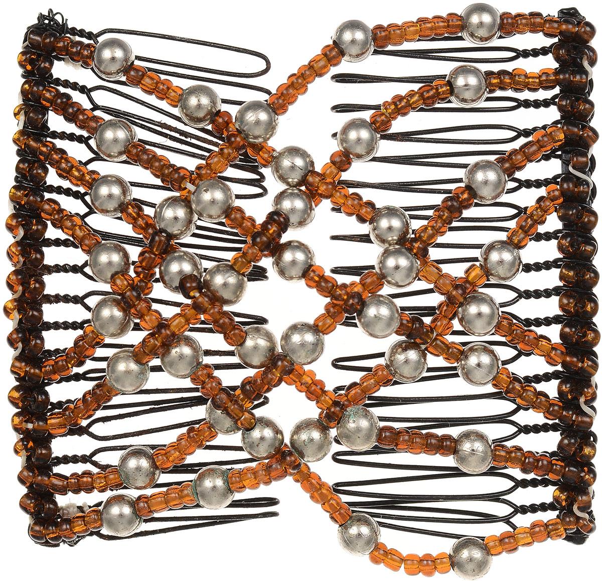 EZ-Combs Заколка Изи-Комбс, одинарная, цвет: коричневый, серебристый. ЗИОЗИО_коричневый, серебристый жемчугУдобная и практичная EZ-Combs подходит для любого типа волос: тонких, жестких, вьющихся или прямых, и не наносит им никакого вреда. Заколка не мешает движениям головы и не создает дискомфорта, когда вы отдыхаете или управляете автомобилем. Каждый гребень имеет по 20 зубьев для надежной фиксации заколки на волосах! И даже во время бега и интенсивных тренировок в спортзале EZ-Combs не падает; она прочно фиксирует прическу, сохраняя укладку в первозданном виде. Небольшая и легкая заколка для волос EZ-Combs поместится в любой дамской сумочке, позволяя быстро и без особых усилий создавать неповторимые прически там, где вам это удобно. Гребень прекрасно сочетается с любой одеждой: будь это классический или спортивный стиль, завершая гармоничный облик современной леди. И неважно, какой образ жизни вы ведете, если у вас есть EZ-Combs, вы всегда будете выглядеть потрясающе.