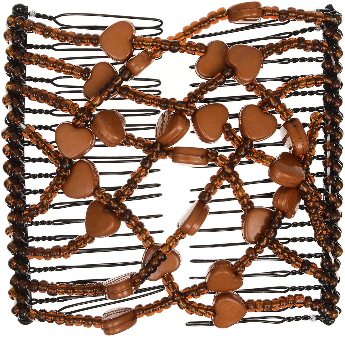 EZ-Combs Заколка Изи-Комбс, одинарная, цвет: коричневый. ЗИО_сердечкиЗИО_коричневый, сердечкиУдобная и практичная EZ-Combs подходит для любого типа волос: тонких, жестких, вьющихся или прямых, и не наносит им никакого вреда. Заколка не мешает движениям головы и не создает дискомфорта, когда вы отдыхаете или управляете автомобилем. Каждый гребень имеет по 20 зубьев для надежной фиксации заколки на волосах! И даже во время бега и интенсивных тренировок в спортзале EZ-Combs не падает; она прочно фиксирует прическу, сохраняя укладку в первозданном виде. Небольшая и легкая заколка для волос EZ-Combs поместится в любой дамской сумочке, позволяя быстро и без особых усилий создавать неповторимые прически там, где вам это удобно. Гребень прекрасно сочетается с любой одеждой: будь это классический или спортивный стиль, завершая гармоничный облик современной леди. И неважно, какой образ жизни вы ведете, если у вас есть EZ-Combs, вы всегда будете выглядеть потрясающе.
