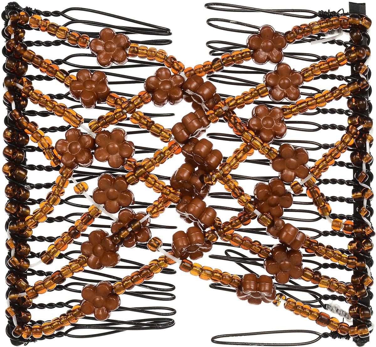 EZ-Combs Заколка Изи-Комбс, одинарная, цвет: коричневый. ЗИО_цветочкиЗИО_коричневый, цветочкиУдобная и практичная EZ-Combs подходит для любого типа волос: тонких, жестких, вьющихся или прямых, и не наносит им никакого вреда. Заколка не мешает движениям головы и не создает дискомфорта, когда вы отдыхаете или управляете автомобилем. Каждый гребень имеет по 20 зубьев для надежной фиксации заколки на волосах! И даже во время бега и интенсивных тренировок в спортзале EZ-Combs не падает; она прочно фиксирует прическу, сохраняя укладку в первозданном виде. Небольшая и легкая заколка для волос EZ-Combs поместится в любой дамской сумочке, позволяя быстро и без особых усилий создавать неповторимые прически там, где вам это удобно. Гребень прекрасно сочетается с любой одеждой: будь это классический или спортивный стиль, завершая гармоничный облик современной леди. И неважно, какой образ жизни вы ведете, если у вас есть EZ-Combs, вы всегда будете выглядеть потрясающе.