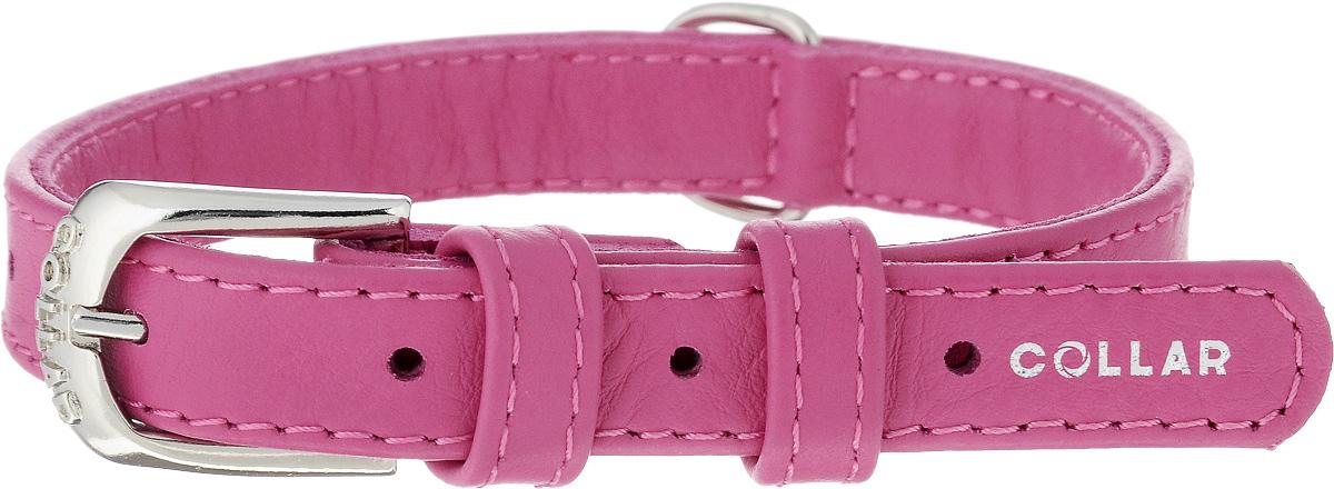 Ошейник для собак CoLLaR Glamour, цвет: розовый, ширина 1,5 см, обхват шеи 27-36 см32707Ошейник CoLLaR Glamour изготовлен из натуральной кожи, устойчивой к влажности и перепадам температур. Клеевой слой, сверхпрочные нити, крепкие металлические элементы делают ошейник надежным и долговечным. Изделие отличается высоким качеством, удобством и универсальностью. Размер ошейника регулируется при помощи металлической пряжки. Имеется металлическое кольцо для крепления поводка. Ваша собака тоже хочет выглядеть стильно! Такой модный ошейник станет для питомца отличным украшением и выделит его среди остальных животных. Минимальный обхват шеи: 27 см. Максимальный обхват шеи: 36 см. Ширина ошейника: 1,5 см.