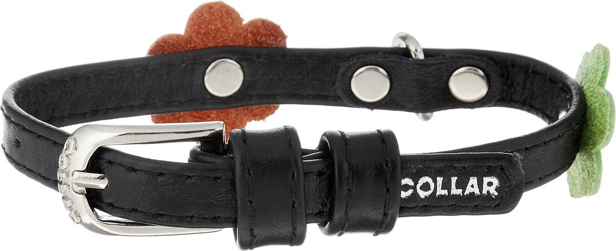 Ошейник для собак CoLLaR Glamour Аппликация, цвет: черный, оранжевый, зеленый, ширина 9 мм, обхват шеи 19-25 см34991Ошейник CoLLaR Glamour Аппликация изготовлен из натуральной кожи, устойчивой к влажности и перепадам температур. Клеевой слой, сверхпрочные нити, крепкие металлические элементы делают ошейник надежным и долговечным. Изделие отличается высоким качеством, удобством и универсальностью. Размер ошейника регулируется при помощи металлической пряжки. Имеется металлическое кольцо для крепления поводка. Ваша собака тоже хочет выглядеть стильно! Модный ошейник с аппликацией в виде цветов станет для питомца отличным украшением и выделит его среди остальных животных. Минимальный обхват шеи: 19 см. Максимальный обхват шеи: 25 см. Ширина: 9 мм.