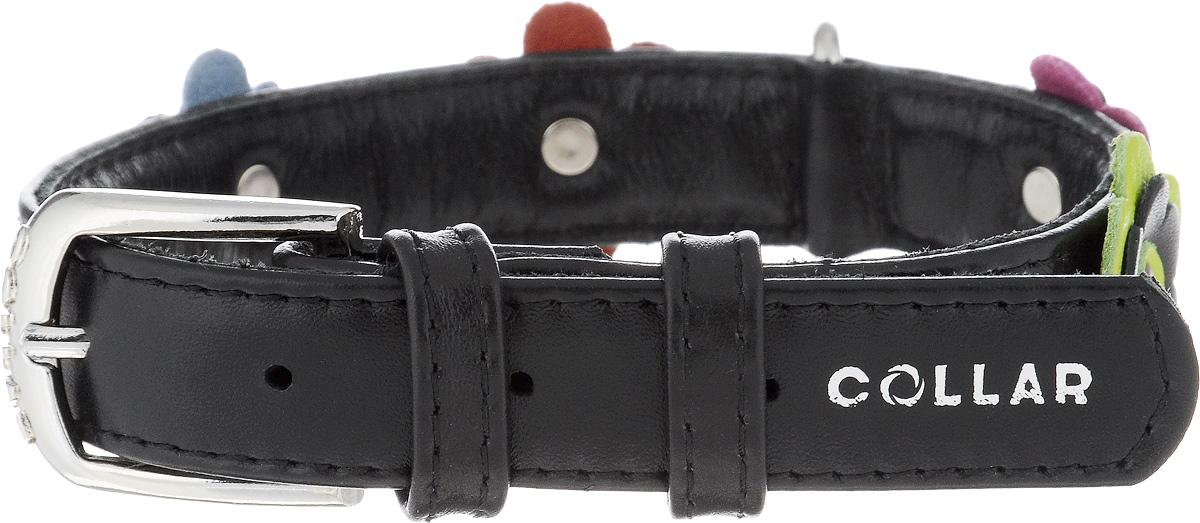 Ошейник для собак CoLLaR Glamour Аппликация, цвет: черный, ширина 2 см, обхват шеи 30-39 см35021Ошейник CoLLaR Glamour изготовлен из натуральной кожи, устойчивой к влажности и перепадам температур. Клеевой слой, сверхпрочные нити, крепкие металлические элементы делают ошейник надежным и долговечным. Изделие декорировано аппликациями в виде цветочков. Размер ошейника регулируется при помощи металлической пряжки. Имеется металлическое кольцо для крепления поводка. Ваша собака тоже хочет выглядеть стильно! Такой модный ошейник станет для питомца отличным украшением и выделит его среди остальных животных. Изделие отличается высоким качеством, удобством и универсальностью. Обхват шеи: 30-39 см. Ширина: 2 см.