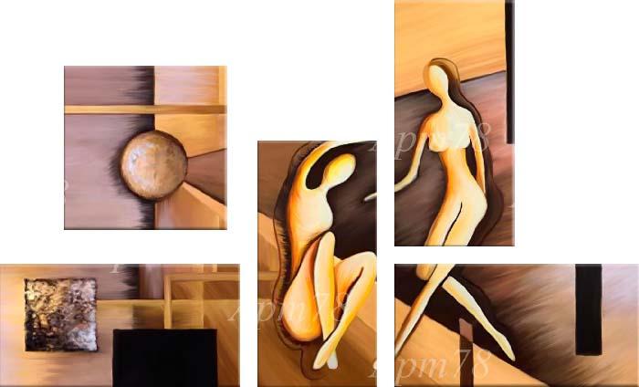 """Картина Арт78 """"Призрачные фигуры"""", модульная, 200 см х 120 см. арт780008"""