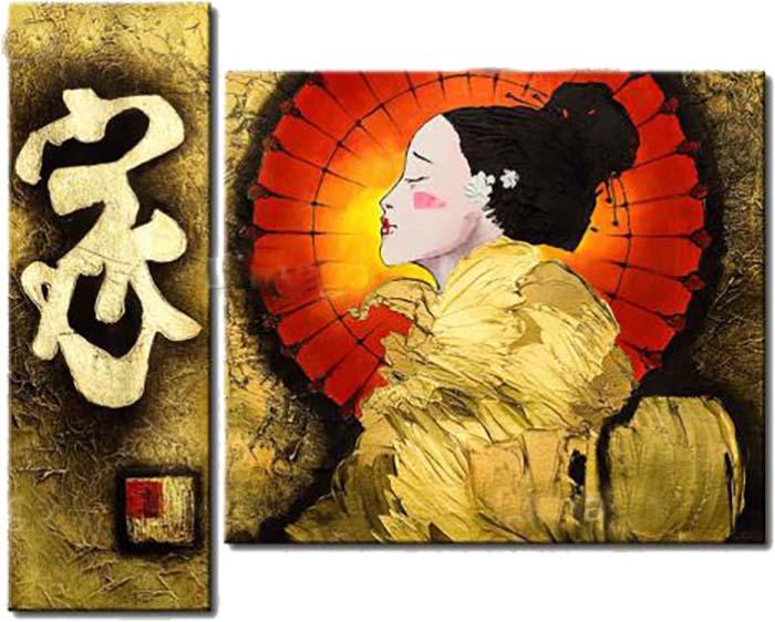 Картина Арт78 Гейша, модульная, 125 см х 80 см. арт780011-2арт780011-2Ничто так не облагораживает интерьер, как хорошая картина. Особенную атмосферу создаст крупное художественное полотно, размеры которого более метра. Подобные произведения искусства, выполненные в традиционной технике (холст, масляные краски), чрезвычайно капризны: требуют сложного ухода, регулярной реставрации, особого микроклимата – поэтому они просто не могут существовать в условиях обычной городской квартиры или загородного коттеджа, и требуют больших затрат. Данное полотно идеально приспособлено для создания изысканной обстановки именно у Вас. Это полотно создано с использованием как традиционных натуральных материалов (холст, подрамник - сосна), так и материалов нового поколения – краски, фактурный гель (придающий картине внешний вид масляной живописи, и защищающий ее от внешнего воздействия). Благодаря такой композиции, картина выглядит абсолютно естественно, и отличить ее от традиционной техники может только специалист. Но при этом изображение отлично смотрится с любого...