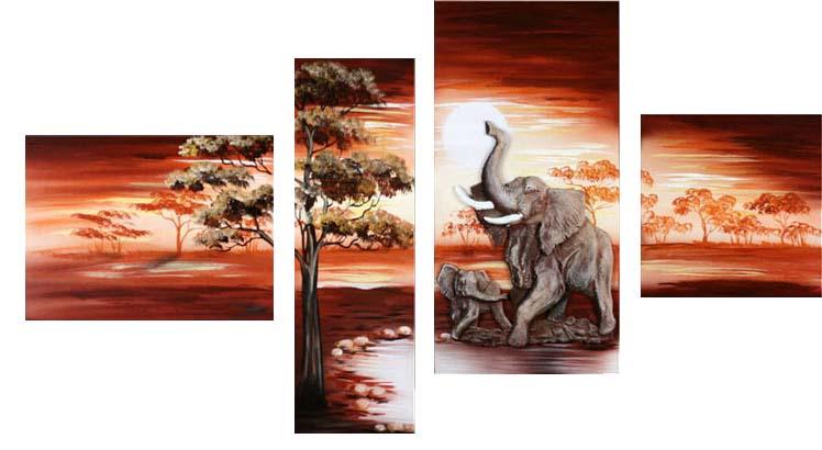 Картина Арт78 Слоники, модульная, 180 см х 120 см. арт780012арт780012Ничто так не облагораживает интерьер, как хорошая картина. Особенную атмосферу создаст крупное художественное полотно, размеры которого более метра. Подобные произведения искусства, выполненные в традиционной технике (холст, масляные краски), чрезвычайно капризны: требуют сложного ухода, регулярной реставрации, особого микроклимата – поэтому они просто не могут существовать в условиях обычной городской квартиры или загородного коттеджа, и требуют больших затрат. Данное полотно идеально приспособлено для создания изысканной обстановки именно у Вас. Это полотно создано с использованием как традиционных натуральных материалов (холст, подрамник - сосна), так и материалов нового поколения – краски, фактурный гель (придающий картине внешний вид масляной живописи, и защищающий ее от внешнего воздействия). Благодаря такой композиции, картина выглядит абсолютно естественно, и отличить ее от традиционной техники может только специалист. Но при этом изображение отлично смотрится с любого...