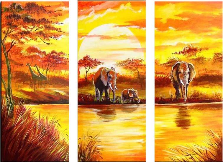 Картина Арт78 Водопой, модульная, 80 см х 60 см. арт780013-3арт780013-3Ничто так не облагораживает интерьер, как хорошая картина. Особенную атмосферу создаст крупное художественное полотно, размеры которого более метра. Подобные произведения искусства, выполненные в традиционной технике (холст, масляные краски), чрезвычайно капризны: требуют сложного ухода, регулярной реставрации, особого микроклимата – поэтому они просто не могут существовать в условиях обычной городской квартиры или загородного коттеджа, и требуют больших затрат. Данное полотно идеально приспособлено для создания изысканной обстановки именно у Вас. Это полотно создано с использованием как традиционных натуральных материалов (холст, подрамник - сосна), так и материалов нового поколения – краски, фактурный гель (придающий картине внешний вид масляной живописи, и защищающий ее от внешнего воздействия). Благодаря такой композиции, картина выглядит абсолютно естественно, и отличить ее от традиционной техники может только специалист. Но при этом изображение отлично смотрится с любого...