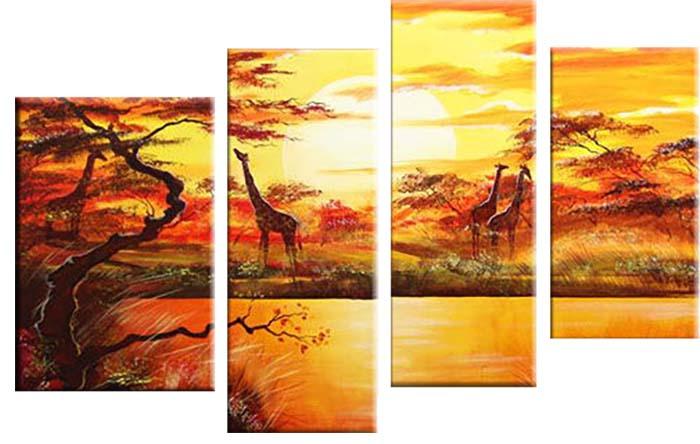 Картина Арт78 Жирафы, модульная, 180 см х 120 см. арт780014арт780014Ничто так не облагораживает интерьер, как хорошая картина. Особенную атмосферу создаст крупное художественное полотно, размеры которого более метра. Подобные произведения искусства, выполненные в традиционной технике (холст, масляные краски), чрезвычайно капризны: требуют сложного ухода, регулярной реставрации, особого микроклимата – поэтому они просто не могут существовать в условиях обычной городской квартиры или загородного коттеджа, и требуют больших затрат. Данное полотно идеально приспособлено для создания изысканной обстановки именно у Вас. Это полотно создано с использованием как традиционных натуральных материалов (холст, подрамник - сосна), так и материалов нового поколения – краски, фактурный гель (придающий картине внешний вид масляной живописи, и защищающий ее от внешнего воздействия). Благодаря такой композиции, картина выглядит абсолютно естественно, и отличить ее от традиционной техники может только специалист. Но при этом изображение отлично смотрится с любого...
