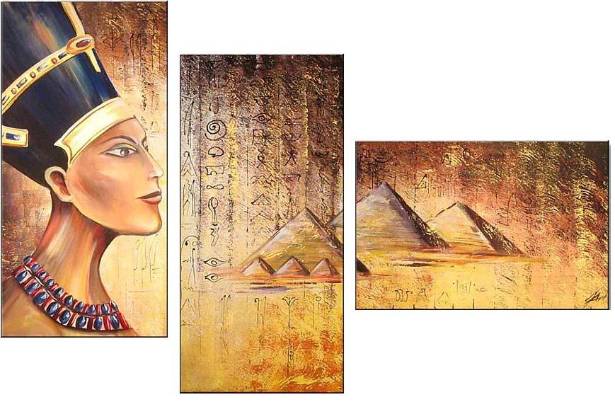 Картина Арт78 Фараон, модульная, 100 см х 60 см. арт780015-3арт780015-3Ничто так не облагораживает интерьер, как хорошая картина. Особенную атмосферу создаст крупное художественное полотно, размеры которого более метра. Подобные произведения искусства, выполненные в традиционной технике (холст, масляные краски), чрезвычайно капризны: требуют сложного ухода, регулярной реставрации, особого микроклимата – поэтому они просто не могут существовать в условиях обычной городской квартиры или загородного коттеджа, и требуют больших затрат. Данное полотно идеально приспособлено для создания изысканной обстановки именно у Вас. Это полотно создано с использованием как традиционных натуральных материалов (холст, подрамник - сосна), так и материалов нового поколения – краски, фактурный гель (придающий картине внешний вид масляной живописи, и защищающий ее от внешнего воздействия). Благодаря такой композиции, картина выглядит абсолютно естественно, и отличить ее от традиционной техники может только специалист. Но при этом изображение отлично смотрится с любого...