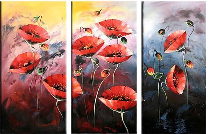 Картина Арт78 Маки, модульная, 80 см х 60 см. арт780017-3арт780017-3Ничто так не облагораживает интерьер, как хорошая картина. Особенную атмосферу создаст крупное художественное полотно, размеры которого более метра. Подобные произведения искусства, выполненные в традиционной технике (холст, масляные краски), чрезвычайно капризны: требуют сложного ухода, регулярной реставрации, особого микроклимата – поэтому они просто не могут существовать в условиях обычной городской квартиры или загородного коттеджа, и требуют больших затрат. Данное полотно идеально приспособлено для создания изысканной обстановки именно у Вас. Это полотно создано с использованием как традиционных натуральных материалов (холст, подрамник - сосна), так и материалов нового поколения – краски, фактурный гель (придающий картине внешний вид масляной живописи, и защищающий ее от внешнего воздействия). Благодаря такой композиции, картина выглядит абсолютно естественно, и отличить ее от традиционной техники может только специалист. Но при этом изображение отлично смотрится с любого...