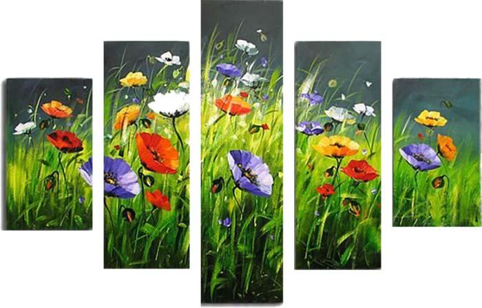 Картина Арт78 Разноцветные маки, модульная, 140 см х 80 см. арт780019-2арт780019-2Ничто так не облагораживает интерьер, как хорошая картина. Особенную атмосферу создаст крупное художественное полотно, размеры которого более метра. Подобные произведения искусства, выполненные в традиционной технике (холст, масляные краски), чрезвычайно капризны: требуют сложного ухода, регулярной реставрации, особого микроклимата – поэтому они просто не могут существовать в условиях обычной городской квартиры или загородного коттеджа, и требуют больших затрат. Данное полотно идеально приспособлено для создания изысканной обстановки именно у Вас. Это полотно создано с использованием как традиционных натуральных материалов (холст, подрамник - сосна), так и материалов нового поколения – краски, фактурный гель (придающий картине внешний вид масляной живописи, и защищающий ее от внешнего воздействия). Благодаря такой композиции, картина выглядит абсолютно естественно, и отличить ее от традиционной техники может только специалист. Но при этом изображение отлично смотрится с любого...