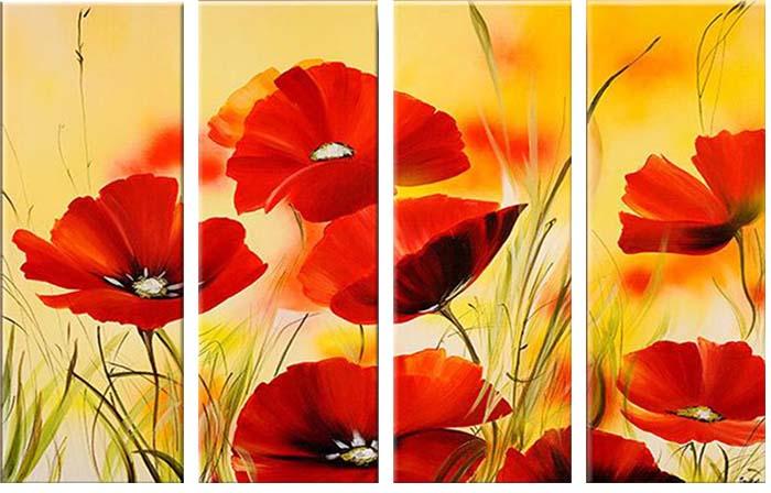 Картина Арт78 Маки, модульная, 130 см х 80 см. арт780022-2арт780022-2Ничто так не облагораживает интерьер, как хорошая картина. Особенную атмосферу создаст крупное художественное полотно, размеры которого более метра. Подобные произведения искусства, выполненные в традиционной технике (холст, масляные краски), чрезвычайно капризны: требуют сложного ухода, регулярной реставрации, особого микроклимата – поэтому они просто не могут существовать в условиях обычной городской квартиры или загородного коттеджа, и требуют больших затрат. Данное полотно идеально приспособлено для создания изысканной обстановки именно у Вас. Это полотно создано с использованием как традиционных натуральных материалов (холст, подрамник - сосна), так и материалов нового поколения – краски, фактурный гель (придающий картине внешний вид масляной живописи, и защищающий ее от внешнего воздействия). Благодаря такой композиции, картина выглядит абсолютно естественно, и отличить ее от традиционной техники может только специалист. Но при этом изображение отлично смотрится с любого...