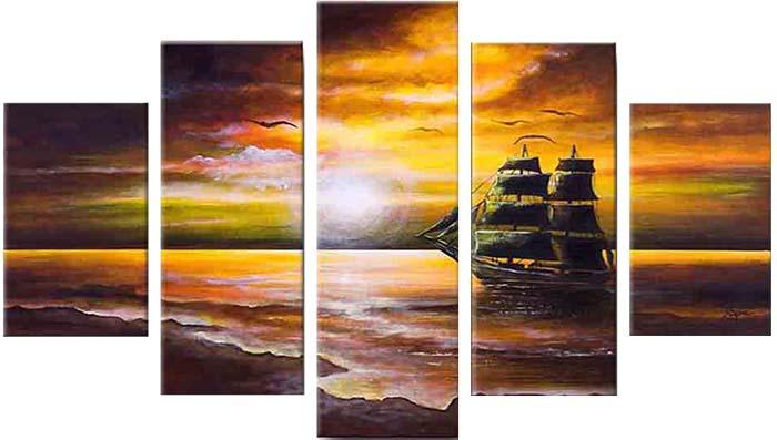 Картина Арт78 Закат на море, модульная, 200 см х 120 см. арт780023арт780023Ничто так не облагораживает интерьер, как хорошая картина. Особенную атмосферу создаст крупное художественное полотно, размеры которого более метра. Подобные произведения искусства, выполненные в традиционной технике (холст, масляные краски), чрезвычайно капризны: требуют сложного ухода, регулярной реставрации, особого микроклимата – поэтому они просто не могут существовать в условиях обычной городской квартиры или загородного коттеджа, и требуют больших затрат. Данное полотно идеально приспособлено для создания изысканной обстановки именно у Вас. Это полотно создано с использованием как традиционных натуральных материалов (холст, подрамник - сосна), так и материалов нового поколения – краски, фактурный гель (придающий картине внешний вид масляной живописи, и защищающий ее от внешнего воздействия). Благодаря такой композиции, картина выглядит абсолютно естественно, и отличить ее от традиционной техники может только специалист. Но при этом изображение отлично смотрится с любого...