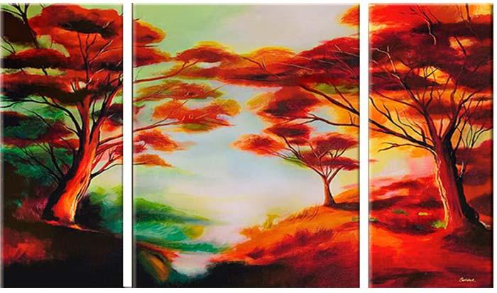 Картина Арт78 Лес, модульная, 90 см х 50 см. арт780026-3арт780026-3Ничто так не облагораживает интерьер, как хорошая картина. Особенную атмосферу создаст крупное художественное полотно, размеры которого более метра. Подобные произведения искусства, выполненные в традиционной технике (холст, масляные краски), чрезвычайно капризны: требуют сложного ухода, регулярной реставрации, особого микроклимата – поэтому они просто не могут существовать в условиях обычной городской квартиры или загородного коттеджа, и требуют больших затрат. Данное полотно идеально приспособлено для создания изысканной обстановки именно у Вас. Это полотно создано с использованием как традиционных натуральных материалов (холст, подрамник - сосна), так и материалов нового поколения – краски, фактурный гель (придающий картине внешний вид масляной живописи, и защищающий ее от внешнего воздействия). Благодаря такой композиции, картина выглядит абсолютно естественно, и отличить ее от традиционной техники может только специалист. Но при этом изображение отлично смотрится с любого...