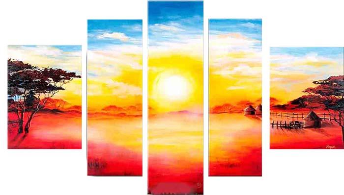 Картина Арт78 Рассвет, модульная, 200 см х 120 см. арт780028арт780028Ничто так не облагораживает интерьер, как хорошая картина. Особенную атмосферу создаст крупное художественное полотно, размеры которого более метра. Подобные произведения искусства, выполненные в традиционной технике (холст, масляные краски), чрезвычайно капризны: требуют сложного ухода, регулярной реставрации, особого микроклимата – поэтому они просто не могут существовать в условиях обычной городской квартиры или загородного коттеджа, и требуют больших затрат. Данное полотно идеально приспособлено для создания изысканной обстановки именно у Вас. Это полотно создано с использованием как традиционных натуральных материалов (холст, подрамник - сосна), так и материалов нового поколения – краски, фактурный гель (придающий картине внешний вид масляной живописи, и защищающий ее от внешнего воздействия). Благодаря такой композиции, картина выглядит абсолютно естественно, и отличить ее от традиционной техники может только специалист. Но при этом изображение отлично смотрится с любого...