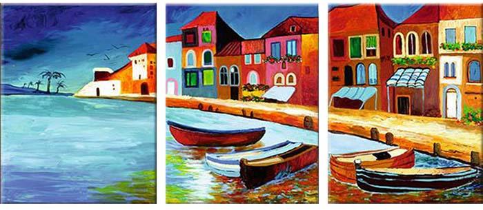 Картина Арт78 Венеция, модульная, 90 см х 50 см. арт780030-3арт780030-3Ничто так не облагораживает интерьер, как хорошая картина. Особенную атмосферу создаст крупное художественное полотно, размеры которого более метра. Подобные произведения искусства, выполненные в традиционной технике (холст, масляные краски), чрезвычайно капризны: требуют сложного ухода, регулярной реставрации, особого микроклимата – поэтому они просто не могут существовать в условиях обычной городской квартиры или загородного коттеджа, и требуют больших затрат. Данное полотно идеально приспособлено для создания изысканной обстановки именно у Вас. Это полотно создано с использованием как традиционных натуральных материалов (холст, подрамник - сосна), так и материалов нового поколения – краски, фактурный гель (придающий картине внешний вид масляной живописи, и защищающий ее от внешнего воздействия). Благодаря такой композиции, картина выглядит абсолютно естественно, и отличить ее от традиционной техники может только специалист. Но при этом изображение отлично смотрится с любого...