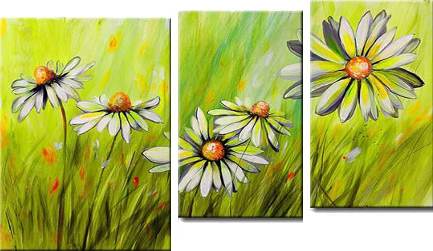 Картина Арт78 Ромашки, модульная, 100 см х 60 см. арт780036-3арт780036-3Ничто так не облагораживает интерьер, как хорошая картина. Особенную атмосферу создаст крупное художественное полотно, размеры которого более метра. Подобные произведения искусства, выполненные в традиционной технике (холст, масляные краски), чрезвычайно капризны: требуют сложного ухода, регулярной реставрации, особого микроклимата – поэтому они просто не могут существовать в условиях обычной городской квартиры или загородного коттеджа, и требуют больших затрат. Данное полотно идеально приспособлено для создания изысканной обстановки именно у Вас. Это полотно создано с использованием как традиционных натуральных материалов (холст, подрамник - сосна), так и материалов нового поколения – краски, фактурный гель (придающий картине внешний вид масляной живописи, и защищающий ее от внешнего воздействия). Благодаря такой композиции, картина выглядит абсолютно естественно, и отличить ее от традиционной техники может только специалист. Но при этом изображение отлично смотрится с любого...