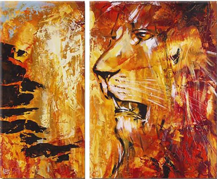 Картина Арт78 Лев, модульная, 125 см х 80 см. арт780037-2арт780037-2Ничто так не облагораживает интерьер, как хорошая картина. Особенную атмосферу создаст крупное художественное полотно, размеры которого более метра. Подобные произведения искусства, выполненные в традиционной технике (холст, масляные краски), чрезвычайно капризны: требуют сложного ухода, регулярной реставрации, особого микроклимата – поэтому они просто не могут существовать в условиях обычной городской квартиры или загородного коттеджа, и требуют больших затрат. Данное полотно идеально приспособлено для создания изысканной обстановки именно у Вас. Это полотно создано с использованием как традиционных натуральных материалов (холст, подрамник - сосна), так и материалов нового поколения – краски, фактурный гель (придающий картине внешний вид масляной живописи, и защищающий ее от внешнего воздействия). Благодаря такой композиции, картина выглядит абсолютно естественно, и отличить ее от традиционной техники может только специалист. Но при этом изображение отлично смотрится с любого...
