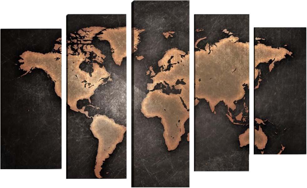 Картина Арт78 Карта, модульная, 90 см х 60 см. арт780044-3арт780044-3Ничто так не облагораживает интерьер, как хорошая картина. Особенную атмосферу создаст крупное художественное полотно, размеры которого более метра. Подобные произведения искусства, выполненные в традиционной технике (холст, масляные краски), чрезвычайно капризны: требуют сложного ухода, регулярной реставрации, особого микроклимата – поэтому они просто не могут существовать в условиях обычной городской квартиры или загородного коттеджа, и требуют больших затрат. Данное полотно идеально приспособлено для создания изысканной обстановки именно у Вас. Это полотно создано с использованием как традиционных натуральных материалов (холст, подрамник - сосна), так и материалов нового поколения – краски, фактурный гель (придающий картине внешний вид масляной живописи, и защищающий ее от внешнего воздействия). Благодаря такой композиции, картина выглядит абсолютно естественно, и отличить ее от традиционной техники может только специалист. Но при этом изображение отлично смотрится с любого...