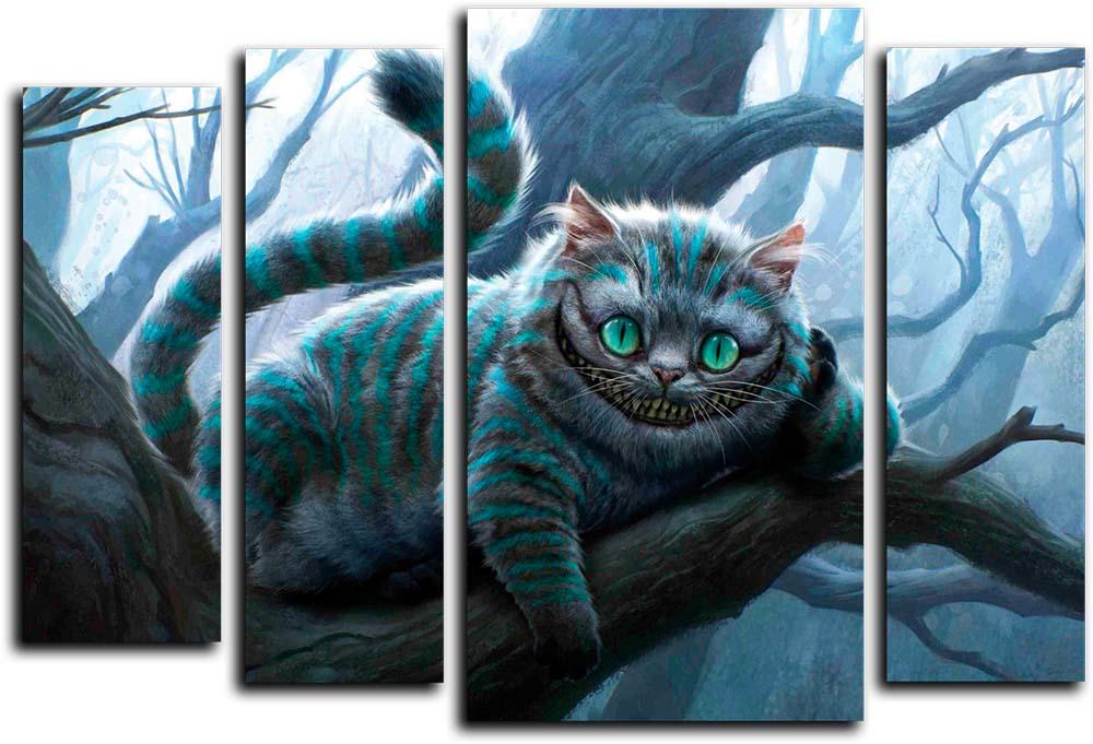 Картина Арт78 Чеширский кот, модульная, 125 см х 90 см. арт780045-2арт780045-2Ничто так не облагораживает интерьер, как хорошая картина. Особенную атмосферу создаст крупное художественное полотно, размеры которого более метра. Подобные произведения искусства, выполненные в традиционной технике (холст, масляные краски), чрезвычайно капризны: требуют сложного ухода, регулярной реставрации, особого микроклимата – поэтому они просто не могут существовать в условиях обычной городской квартиры или загородного коттеджа, и требуют больших затрат. Данное полотно идеально приспособлено для создания изысканной обстановки именно у Вас. Это полотно создано с использованием как традиционных натуральных материалов (холст, подрамник - сосна), так и материалов нового поколения – краски, фактурный гель (придающий картине внешний вид масляной живописи, и защищающий ее от внешнего воздействия). Благодаря такой композиции, картина выглядит абсолютно естественно, и отличить ее от традиционной техники может только специалист. Но при этом изображение отлично смотрится с любого...