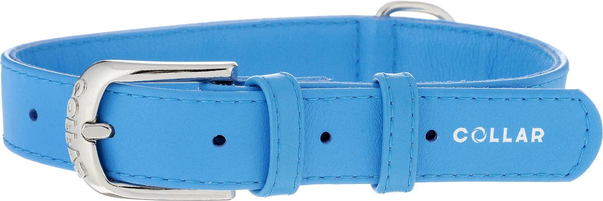Ошейник для собак CoLLaR Glamour, цвет: голубой, ширина 2,5 см, обхват шеи 38-49 см33042Ошейник CoLLaR Glamour изготовлен из натуральной кожи, устойчивой к влажности и перепадам температур. Клеевой слой, сверхпрочные нити, крепкие металлические элементы делают ошейник надежным и долговечным. Размер ошейника регулируется при помощи металлической пряжки. Имеется металлическое кольцо для крепления поводка. Ваша собака тоже хочет выглядеть стильно! Такой модный ошейник станет для питомца отличным украшением и выделит его среди остальных животных. Изделие отличается высоким качеством, удобством и универсальностью. Обхват шеи: 38-49 см. Ширина: 2,5 см.