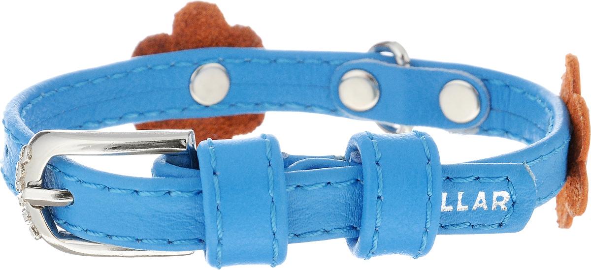 Ошейник для собак CoLLaR Glamour Аппликация, цвет: голубой, оранжевый, ширина 9 мм, обхват шеи 19-25 см34992Ошейник CoLLaR Glamour Аппликация изготовлен из натуральной кожи, устойчивой к влажности и перепадам температур. Клеевой слой, сверхпрочные нити, крепкие металлические элементы делают ошейник надежным и долговечным. Изделие отличается высоким качеством, удобством и универсальностью. Размер ошейника регулируется при помощи металлической пряжки. Имеется металлическое кольцо для крепления поводка. Ваша собака тоже хочет выглядеть стильно! Модный ошейник с аппликацией в виде цветов станет для питомца отличным украшением и выделит его среди остальных животных. Минимальный обхват шеи: 19 см. Максимальный обхват шеи: 25 см. Ширина: 9 мм.