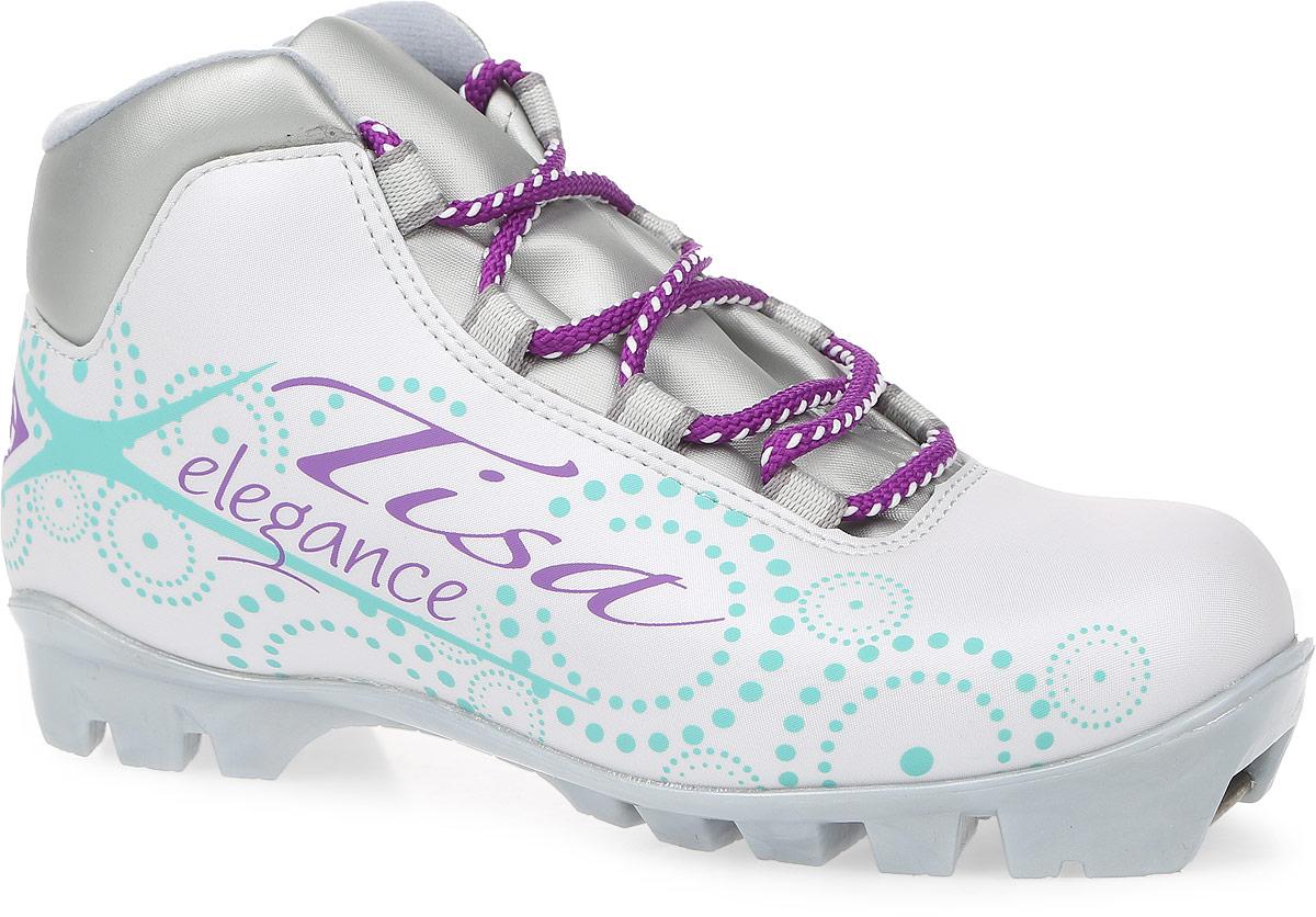 Ботинки лыжные беговые Tisa Sport Lady NNN, цвет: белый, серый, бирюзовый. Размер 37S75215Ботинки Tisa Sport Lady NNN выполнены из искусственных материалов в классическом стиле и предназначены для лыжных прогулок и туризма. Сплошной язычок предотвращает проникновение снега и влаги. Подкладка, исполненная из мягкого флиса и искусственного меха, защитит ноги от холода и обеспечит уют. Верх изделия оформлен удобной шнуровкой с петлями из текстиля. Вставки в мысовой и пяточной частях предназначены для дополнительной жесткости. Подошва системы NNN выполнена из полимерного термопластичного материала. С одной из боковых сторон лыжные ботинки дополнены принтом в виде логотипа бренда и названия модели.