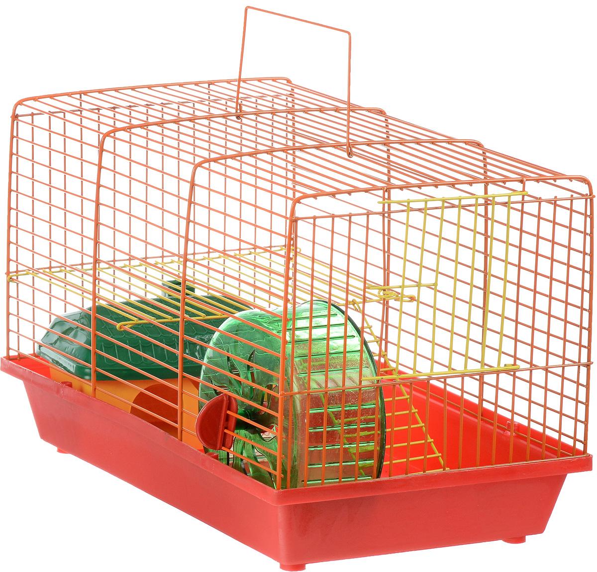 Клетка для грызунов ЗооМарк, 2-этажная, цвет: красный поддон, оранжевая решетка, желтый этаж, 36 х 22 х 24 см125_красный, оранжевый, желтыйКлетка ЗооМарк, выполненная из полипропилена и металла, подходит для мелких грызунов. Изделие двухэтажное, оборудовано колесом для подвижных игр и пластиковым домиком. Клетка имеет яркий поддон, удобна в использовании и легко чистится. Сверху имеется ручка для переноски, а сбоку удобная дверца. Такая клетка станет уединенным личным пространством и уютным домиком для маленького грызуна.