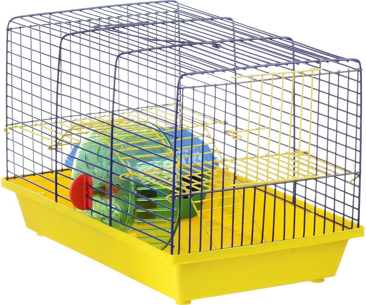 Клетка для грызунов Зоомарк Венеция, 2-этажная, цвет: желтый поддон, синяя решетка, желтый этаж, 36 х 23 х 24 см145к_желтый, синийКлетка Венеция, выполненная из полипропилена и металла, подходит для мелких грызунов. Изделие двухэтажное, оборудовано колесом для подвижных игр и пластиковым домиком. Клетка имеет яркий поддон, удобна в использовании и легко чистится. Сверху имеется ручка для переноски. Такая клетка станет уединенным личным пространством и уютным домиком для маленького грызуна.
